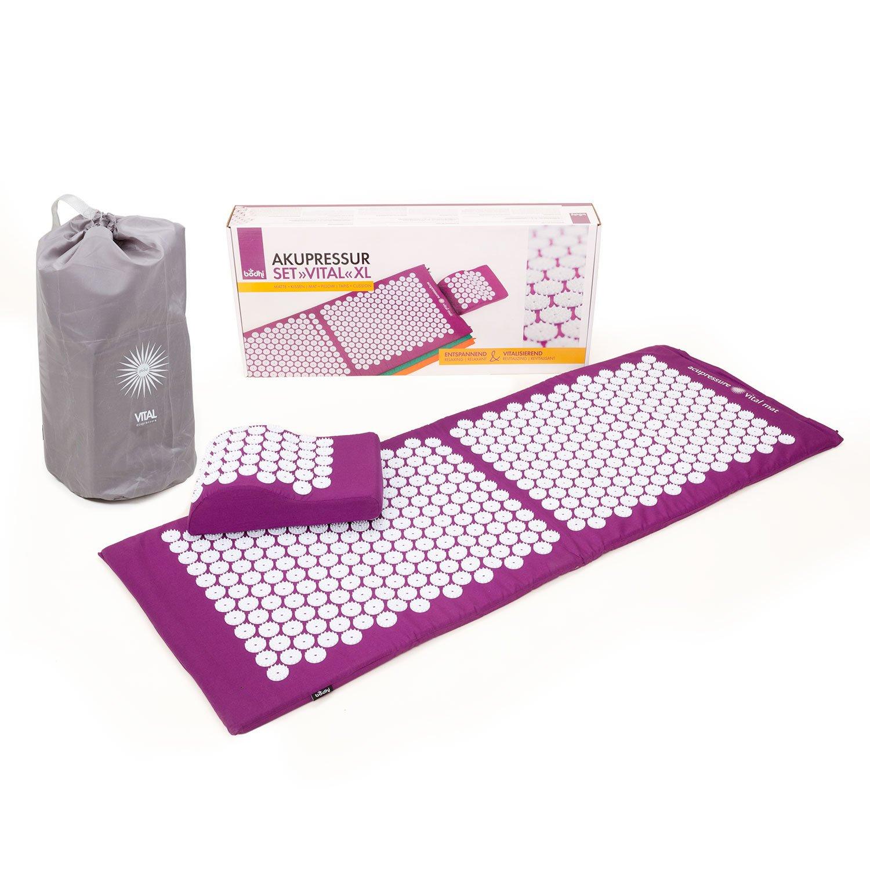 Akupressur-Set VITAL XL (aubergine): Akupressurmatte (130 x 50cm) & Akupressurkissen im günstigen Set, vitalisierende Matte für den Rücken und Kissen für den Nacken, wohltuende Entspannungsmatte & Kissen product image
