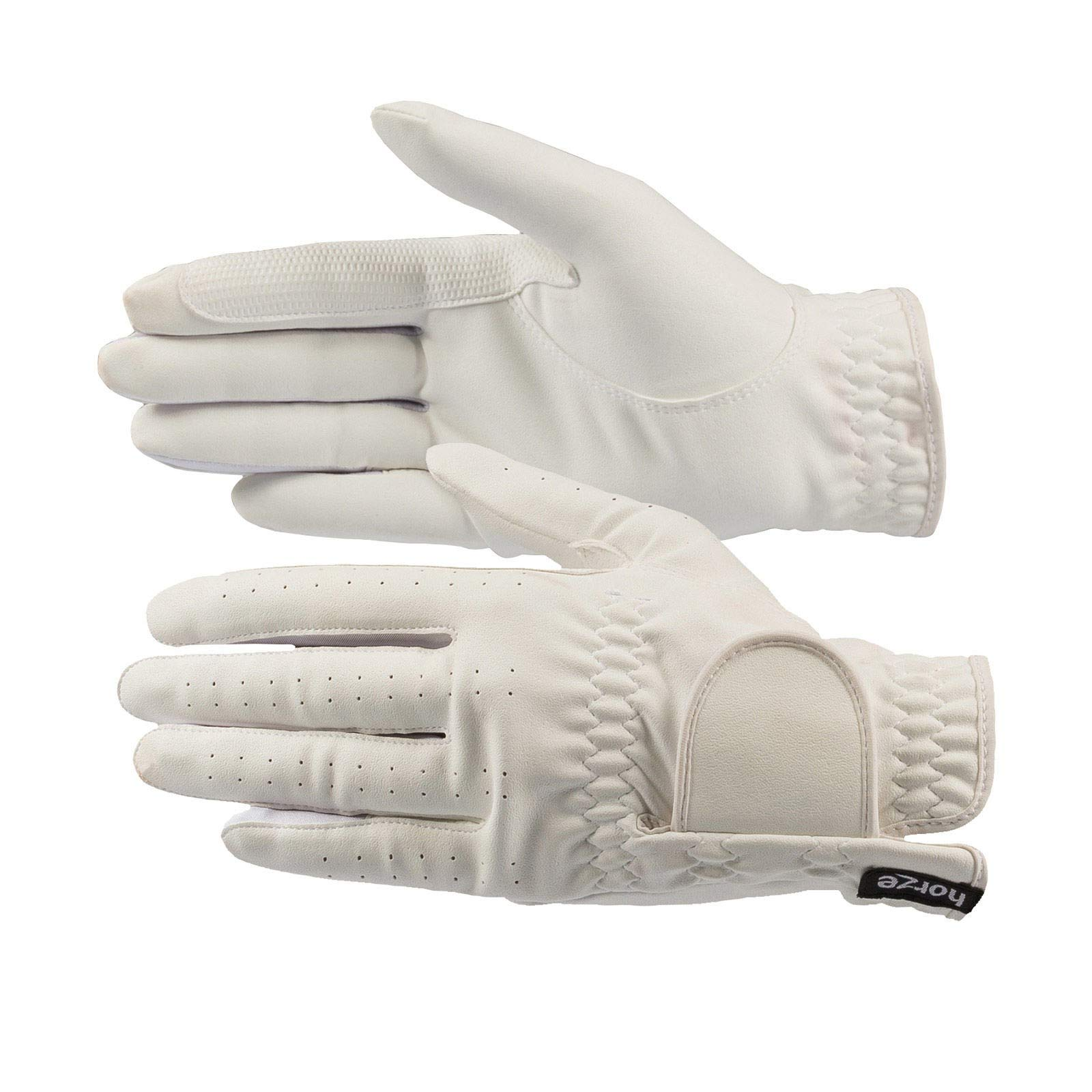 HORZE Eleanor PU-Leather Gloves - White - 8