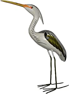 WorldBazzar Hand Carved Painted Wood Carving Heron Bird Decoy Vintage Style