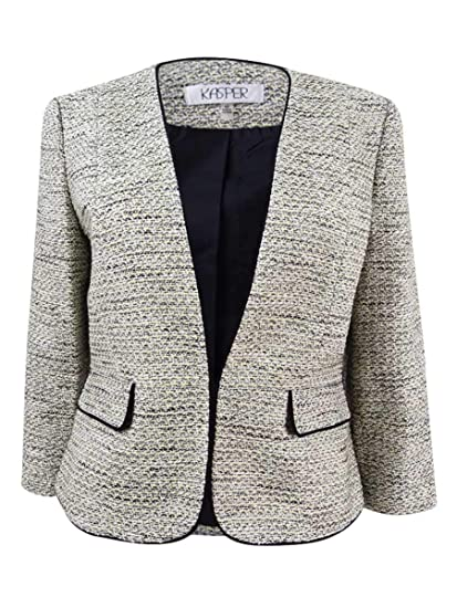 0f33de5f9b4 Amazon.com  Kasper Womens Plus Kissing Front Suit Separates Tweed Jacket   Clothing