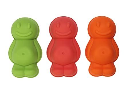 Dexam Silicone Jelly Baby Moulds Set Of 3 Red Orange Green