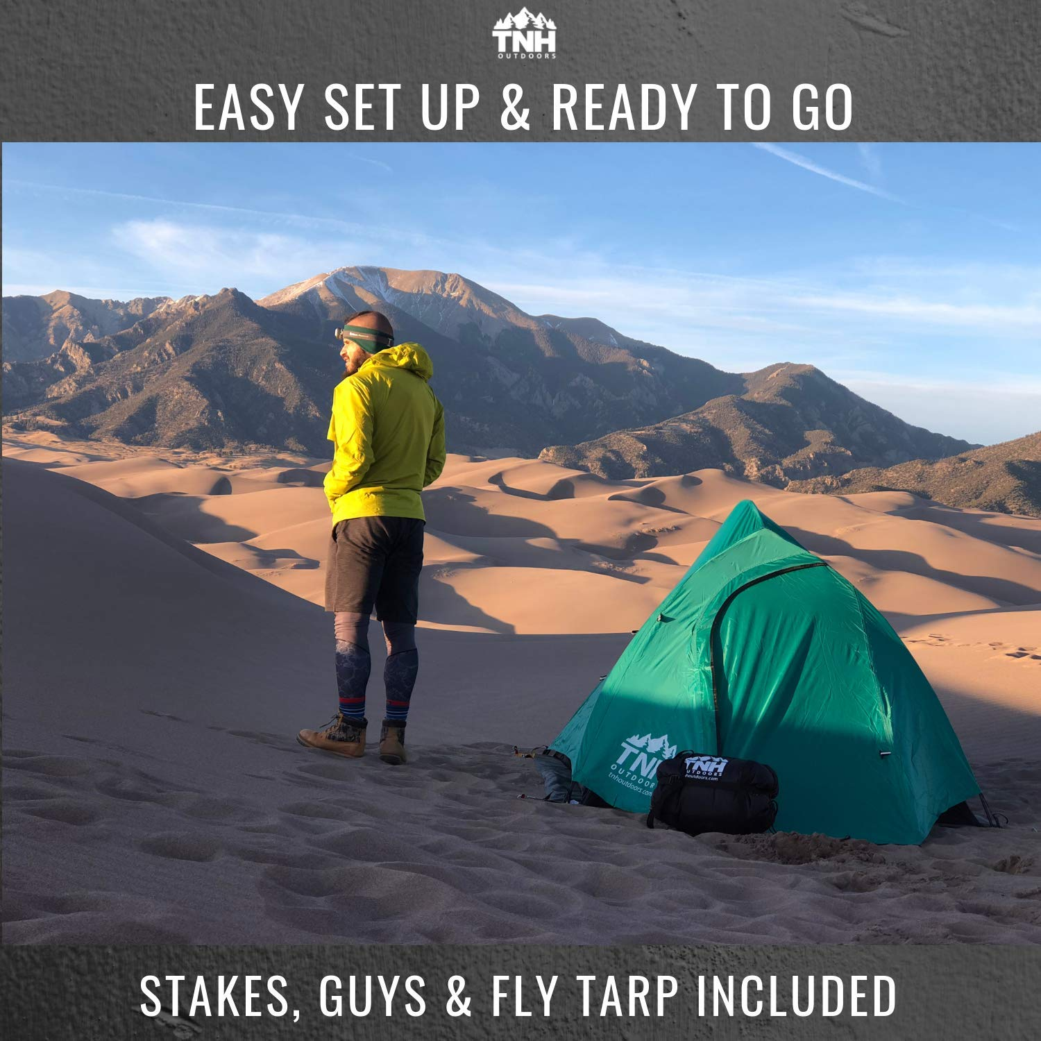 TNH Outdoors 2 Person Camping /& Backpacking Tent with Carry Bag and Stakes Portable Lightweight Easy Setup Hiking Tent