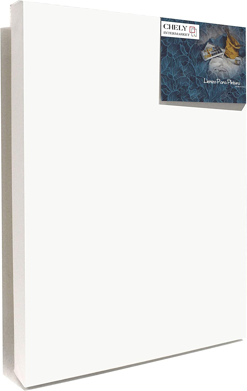 Chely Intermarket, Lienzos para pintar 60x80 cm Perfil 37mm con oleo, Pre-estirado 100% algodón, Color blanco 380grs(561-60x80-1,15)