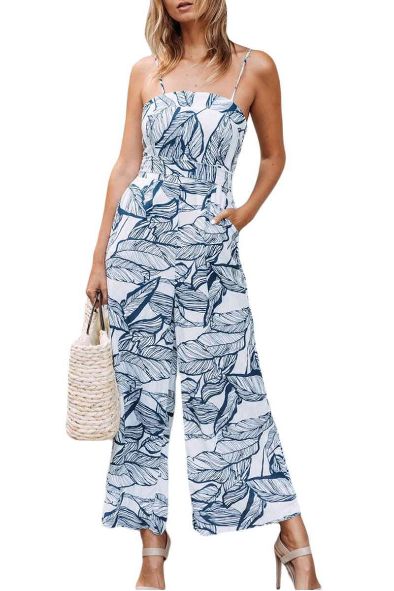Ytwysj Women Sexy Spaghetti Strap Leaf Vein Print Wide Leg Jumpsuit Rompers Pants Party Clubwear Capris Dressy Rompers