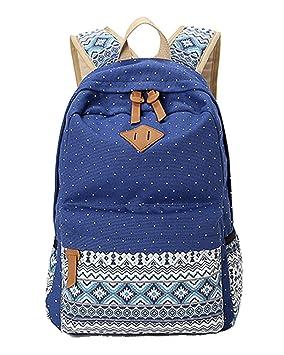 Backpack Mochilas Escolares Mujer Mochila Escolar Lona Bolsa Estilo Étnico Vendimia Casual Bolso Azul Oscuro: Amazon.es: Equipaje