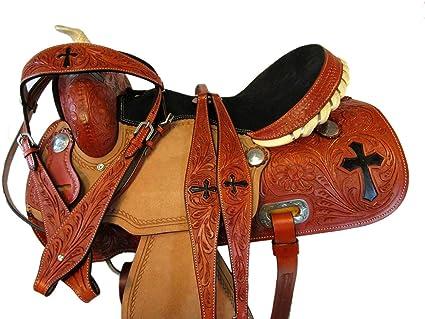 GAITED HORSE TRAIL PLEASURE TOOLED LEATHER 15 16 17 WESTERN BARREL SADDLE TACK