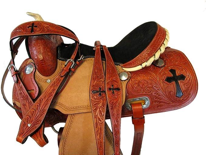 "14/"" Horse Barrel Racing Saddle Trail Pleasure Leather Tack Great American U-4-14"
