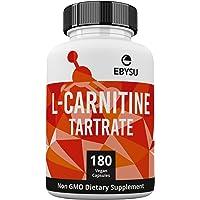 EBYSU L-Carnitine L-Tartrate Supplement - 180 Vegan Capsules, 1000mg Gluten-Free & Non-GMO Amino Acids - Helps Aid Fat Burn & Muscle Building Workouts - lcarnitine Powder Caps Vegetarian Health Supplements