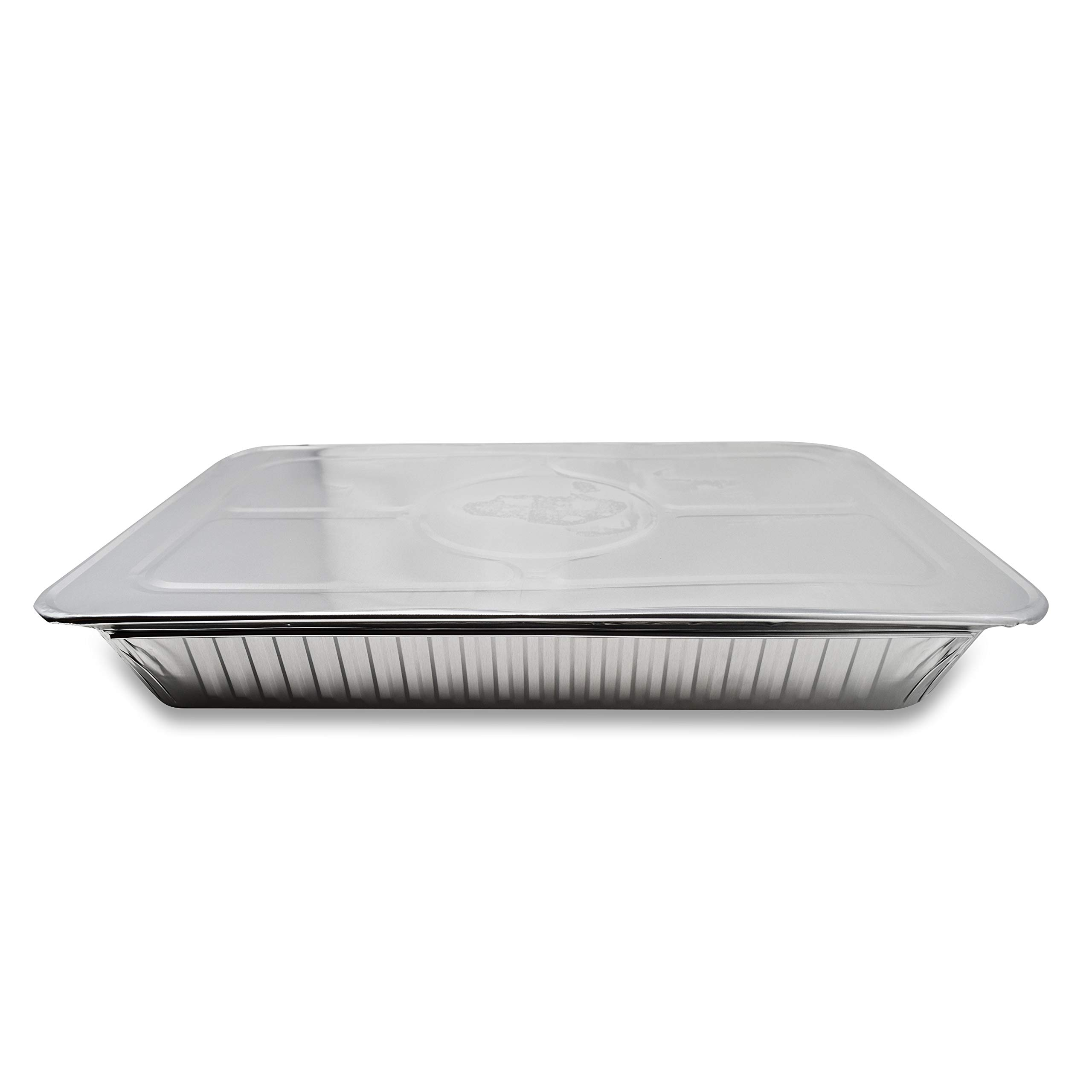 Fig & Leaf (120 Pack) Premium Lids for Chafing Pans 9'' x 13'' Half Deep Pans l Top Choice Disposable Aluminum Foil Tin Pan Lid Perfect for Roasting Potluck Catering Party BBQ Baking Cakes Pies by Fig & Leaf (Image #7)