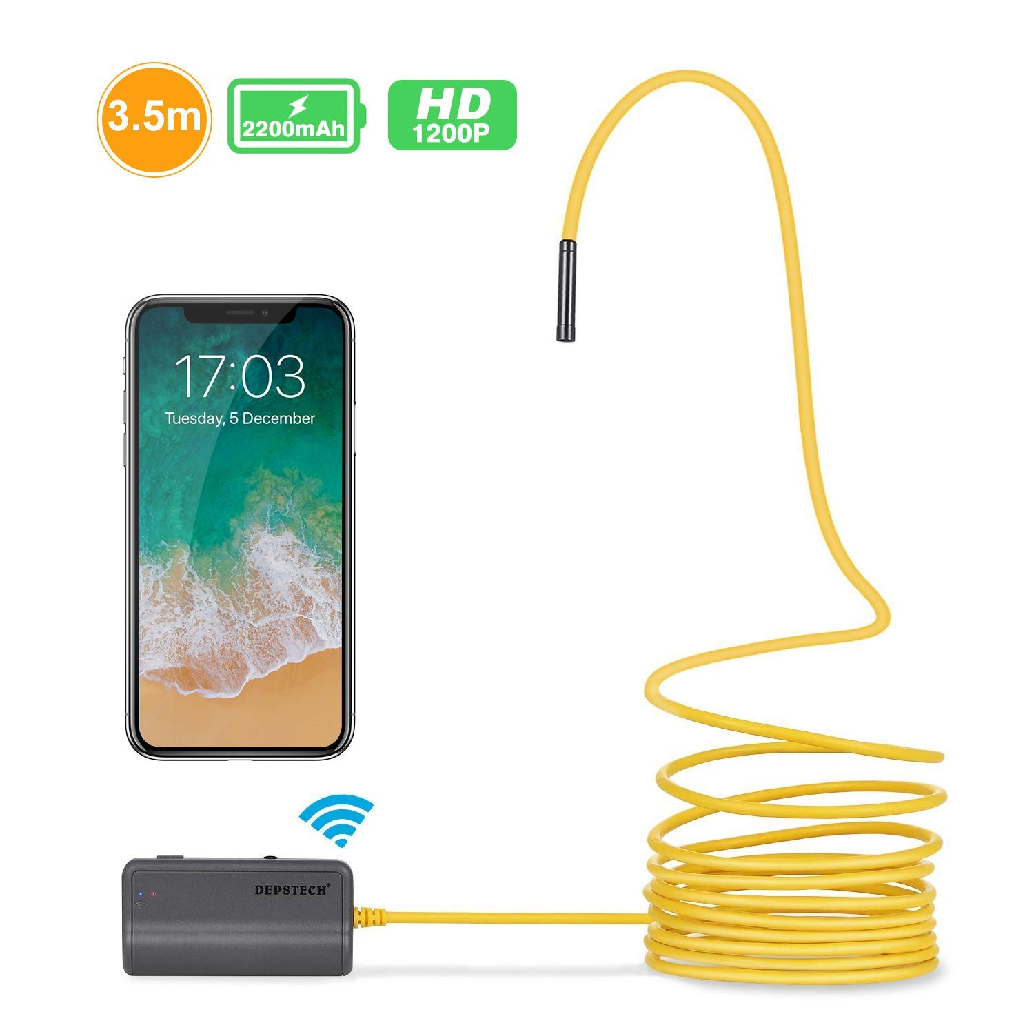 Wireless Borescope,DEPSTECH Upgraded HD 2 0 MP WIFI Endoscope Rechargeable  Inspection camera with 2200mAh Battery snake camera for Android and iOS