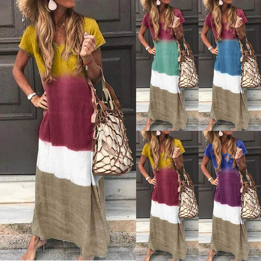 2019 New Womens Casual Breathable Loose Soft Long Dress,Outdoor Tie-Dyed Block Loose V Neck Short Sleeve Maxi Linen Dress