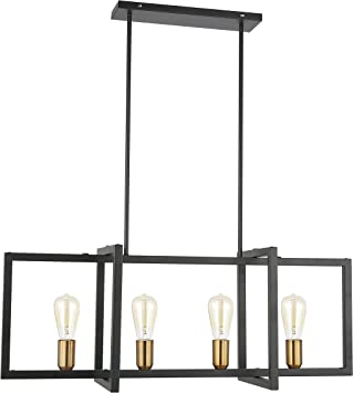 Light Society Paradigm 4 Light Kitchen Island Pendant Matte Black With Antique Brass Finish Geometric Modern Industrial Chandelier Ls C249 Bk Amazon Com