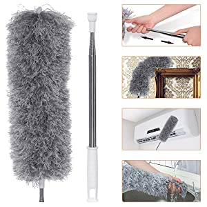 Microfiber Dusters for Cleaning with Extension Pole Reaches 100 inches, Scratch-Resistant Cover, Bendable, Washable, Detachable, Lint Free Dusters for Cleaning Ceiling Fan, Blinds, Cobwebs, Furniture