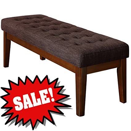 Astounding Amazon Com Efd Long Wooden Bench With Foam Padded Buttoned Pabps2019 Chair Design Images Pabps2019Com