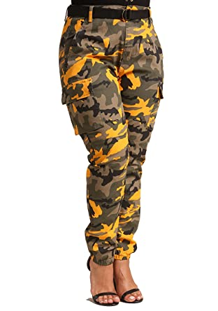 01323a895c5 Deb Shops Debshops Womens Plus Size Camo Belted Cargo Jogger Pants - Yellow  - XXX-L  Amazon.co.uk  Clothing