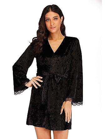 3e1d2d22edc Oeuvre Womens Long Sleeves Nightgown Velvet Bathrobe Sleep Dress With Lace  Black S