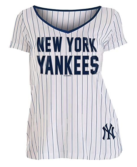 21d60ab6a Amazon.com : New York Yankees Women's Pinstripe Classic V-Neck T ...