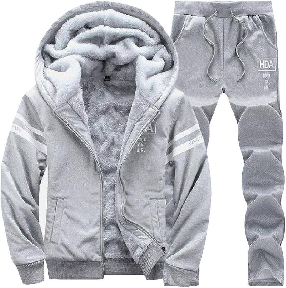 Sayah Mens Pocket Zip 2 Piece Lounge Plus Velvet Plus-Size Hoodie Tracksuit