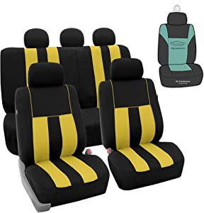 FH Group FB036115 Striking Striped Seat Covers (Yellow) Full Set with Gift – Universal Fit for Cars Trucks & SUVs