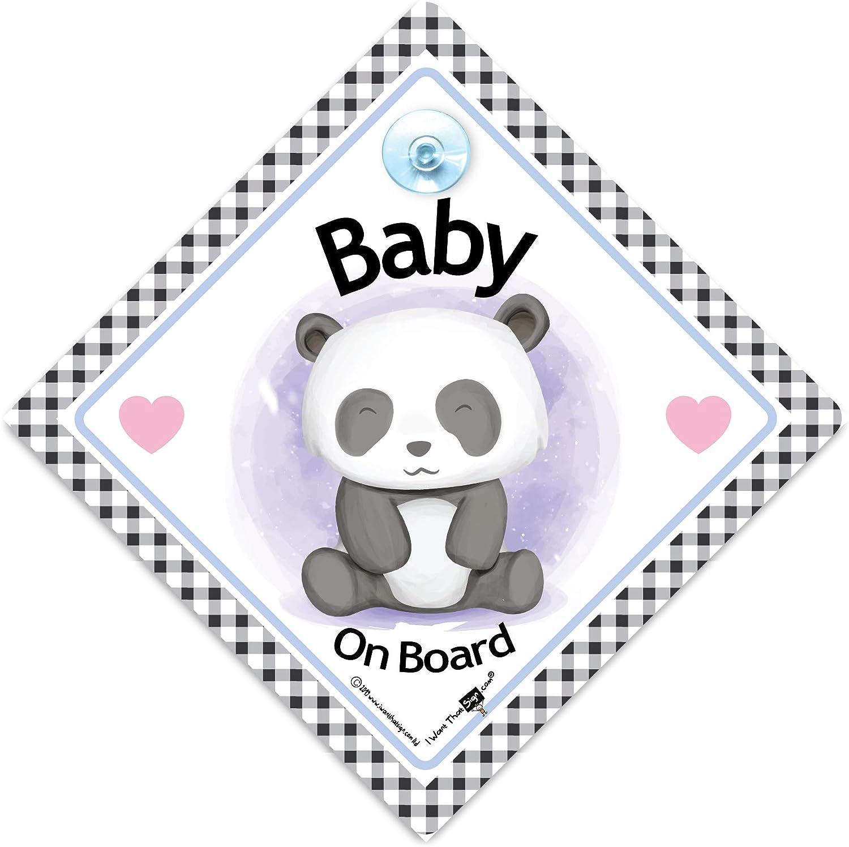 Iwantthatsign.com Panneau de voiture pour b/éb/é Panda /à bord avec inscription /« Baby on Board /» et ventouse