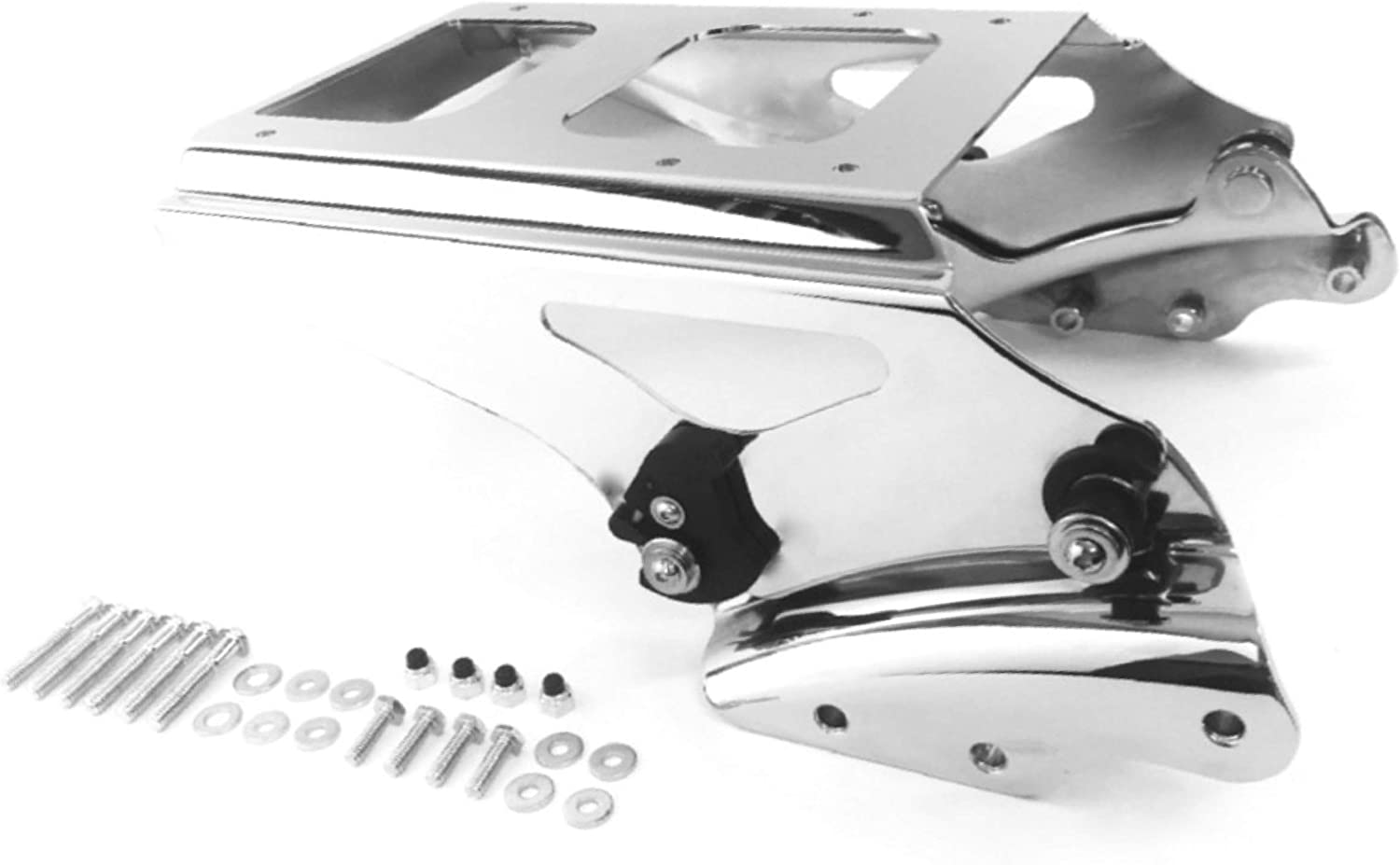 Lalaparts Chrome Detachable Two Up Tour Pak Pack Mounting Rack compatible for Harley Touring 2009-2013