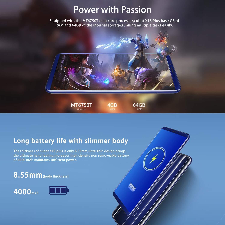 Cubot X18 Plus - 5.99 4 G Smartphone Tamaño 18/9 (4GB RAM + 64GB ...