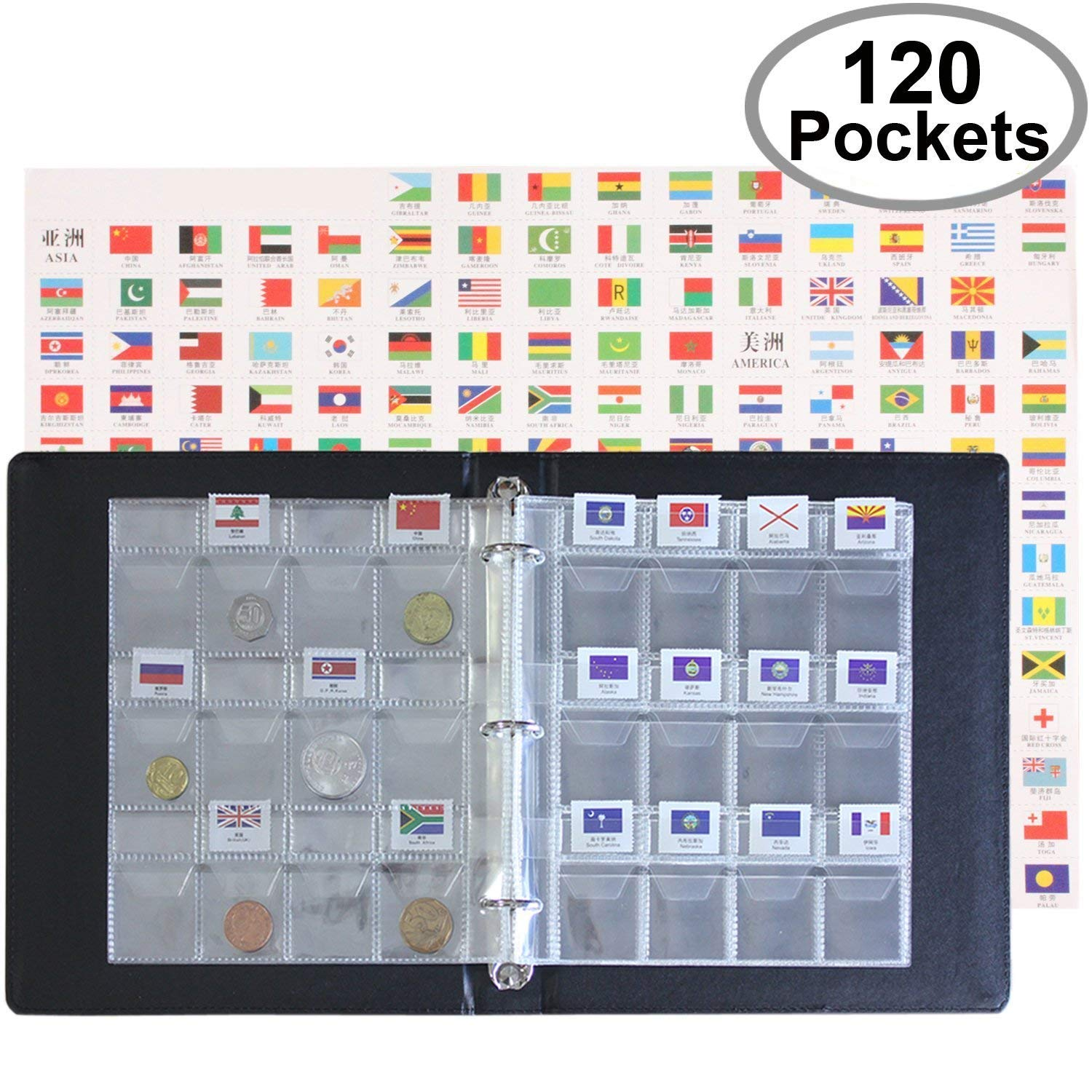 Coin Collecting Starter Holders - Includes A Leather Album, 10 Pages Storage Sheets with 120 Coins Pockets and Flag Grids, World Flag Set - A Unique Stock Book You Need to Get Started