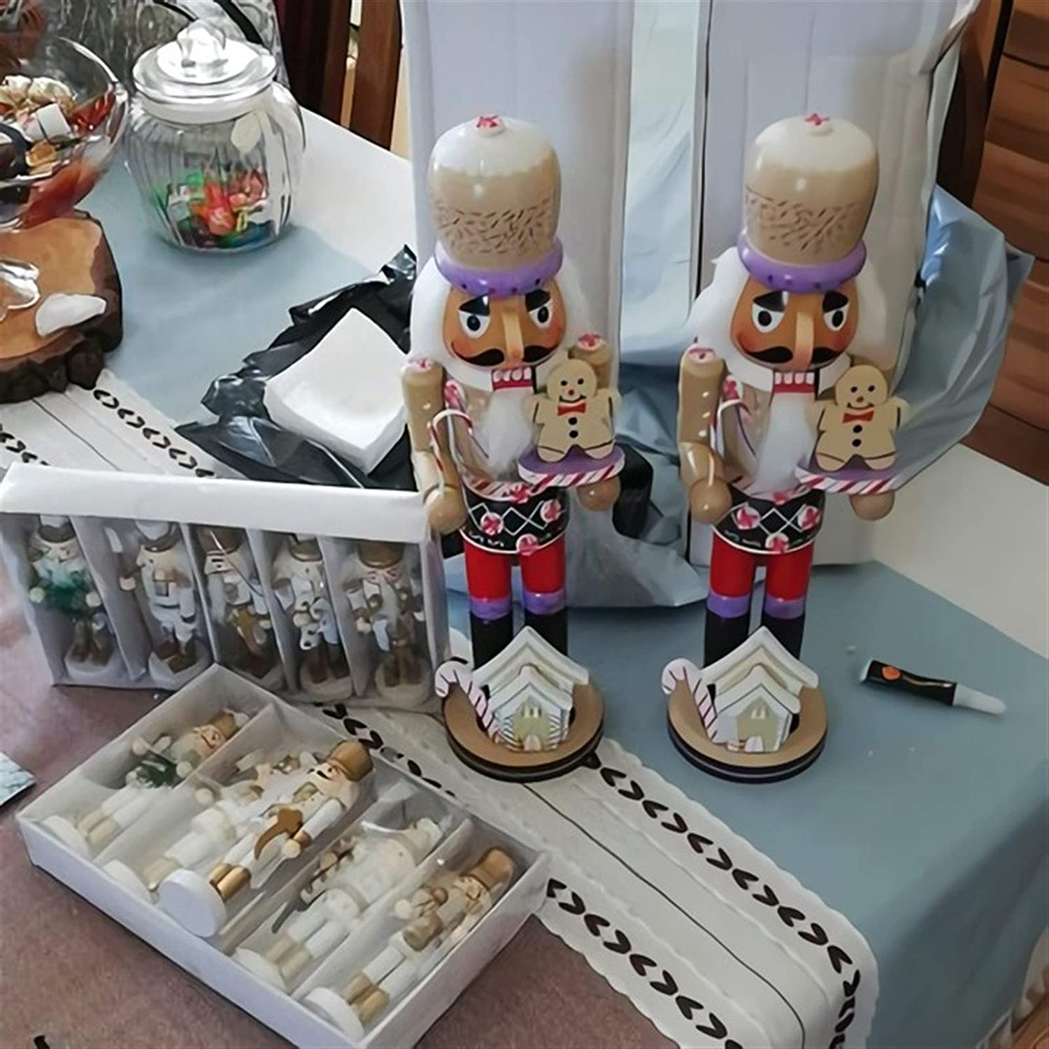 HongTeng Christmas Decorations 35cm Christmas Nutcracker Baking Chef Wood Decorative Tabletop Figurine Holiday Decoration for Kids Gifts