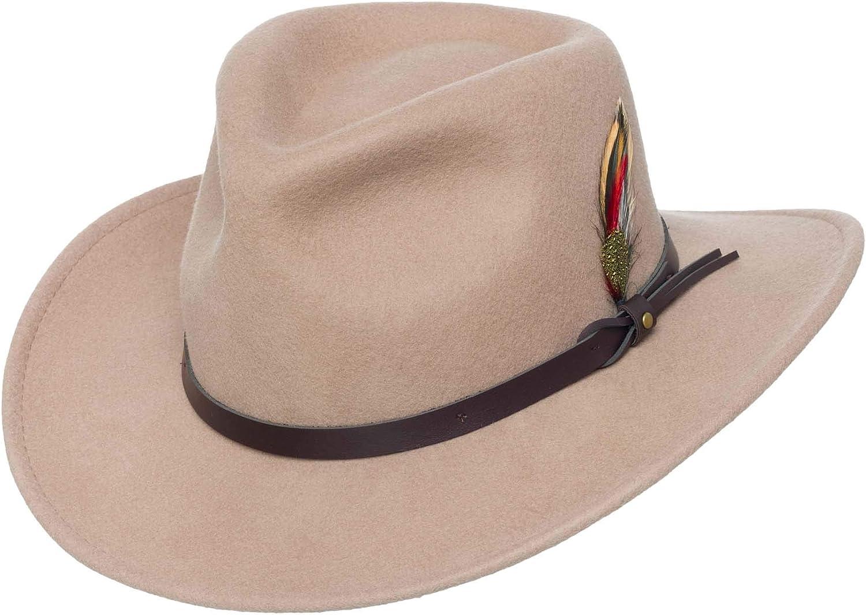 Jack/&Arrow Cowboy Hat Men Black Wool Felt Western Outback Gambler Wide Brim Adjustable Sizes Crushable