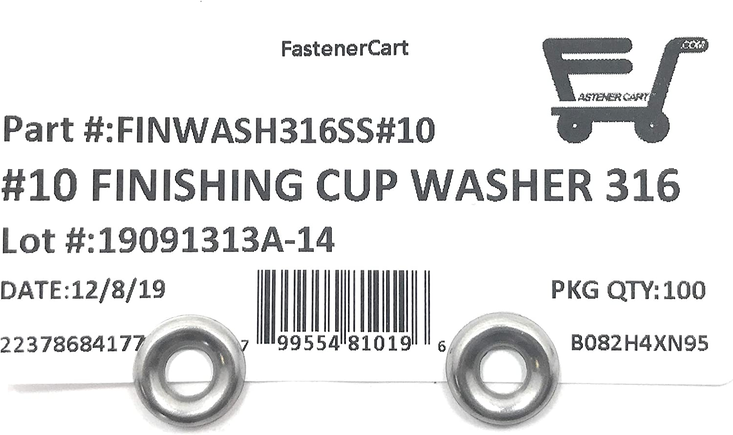 316 Marine Grade Stainless 100 Pieces Finishing Washers Cup Washers Countersunk #6 Stainless Steel