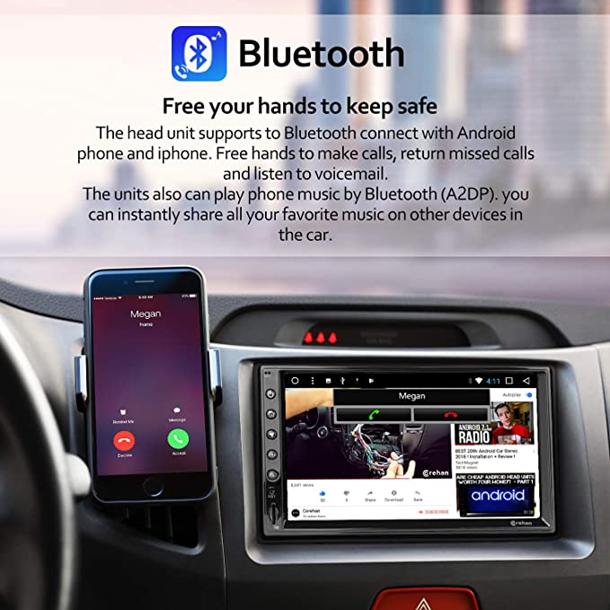 Double Din Android Car Stereo - Corehan 7 inch Touch Screen in Dash Car  Radio Video Multimedia Player with Bluetooth WiFi GPS Navigation System
