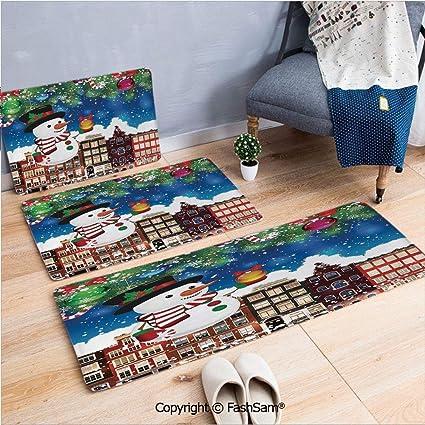 Amazon Com 3 Piece Fashion Flannel Door Mat Carpet Snowman In The