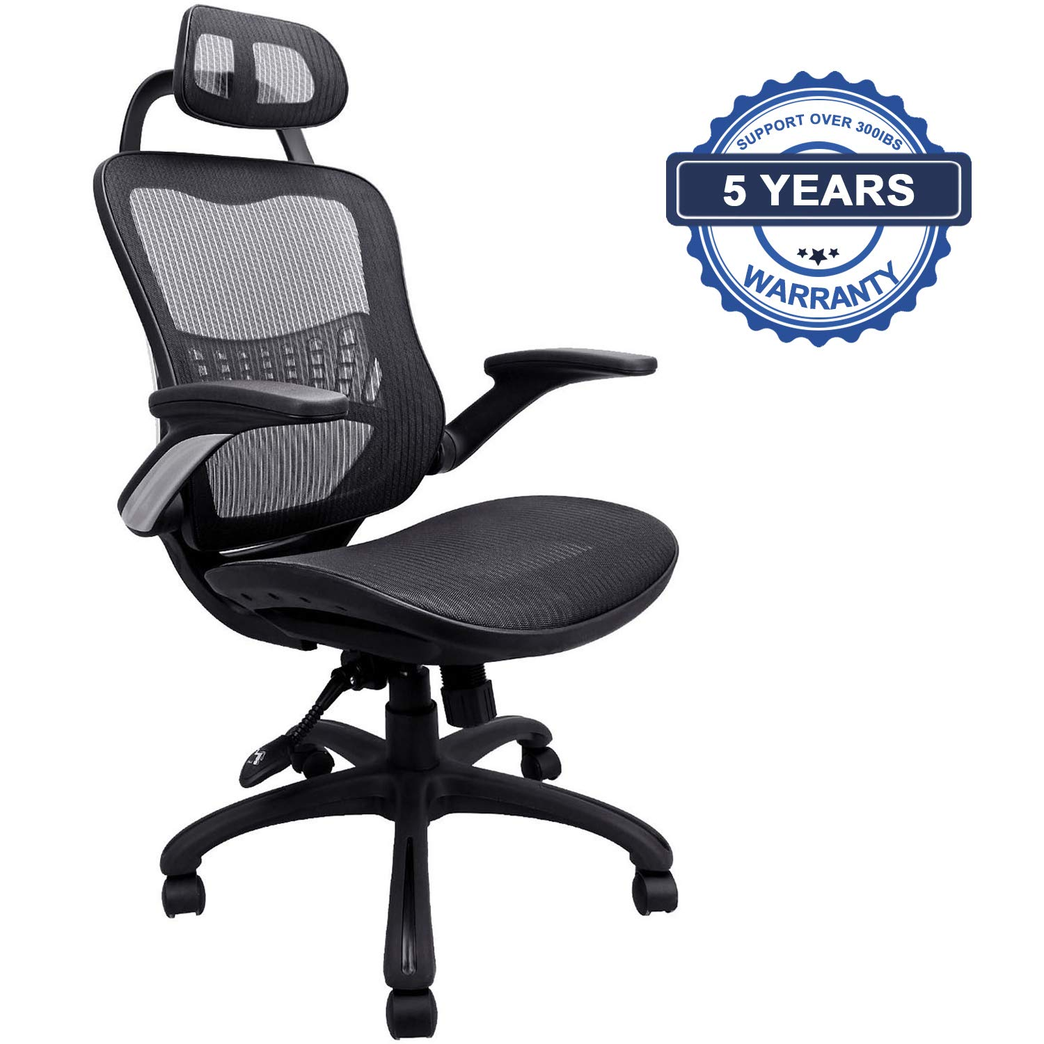 Ergonomic Office Chair: Passed BIFMA/SGS Weight Support Over 300Ibs,Breathable Mesh Cushion &High Back - Executive Chairs with Adjustable Head& Backrest,Flip-up Armrests,360-Degree Swivel Chair by Komene (Image #1)