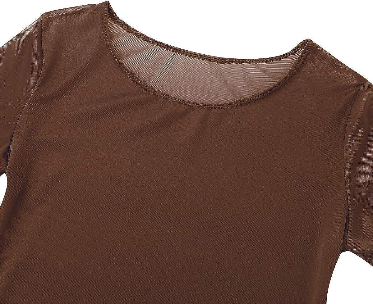 Yeahdor Womens See Through Mesh Ultra-Thin Teddy High Cut Thong Leotard Bodysuit Smooth Nightwear