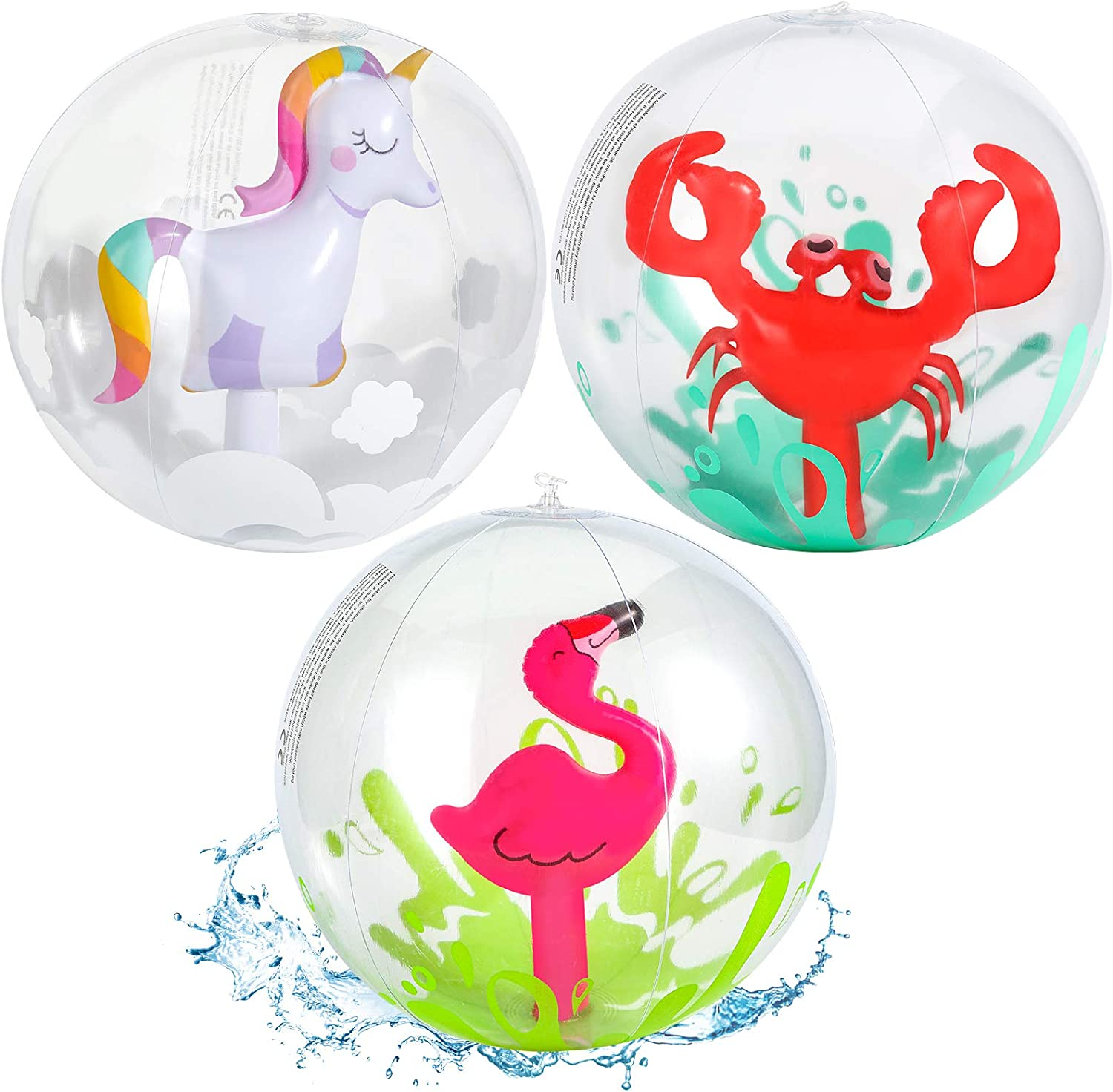 AMOR 3 Pieces 3D Beach Balls, 13 Inch Inflatable Beach Ball for Kids, Pool Toy Balls for Summer Beach Pool Party Favor Home Decoration: Sports & Outdoors