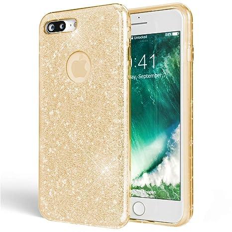 50aa3033e893 NALIA Coque Silicone pour iPhone 7 Plus, Ultra-Fine Glitter Housse  Protection Slim Case