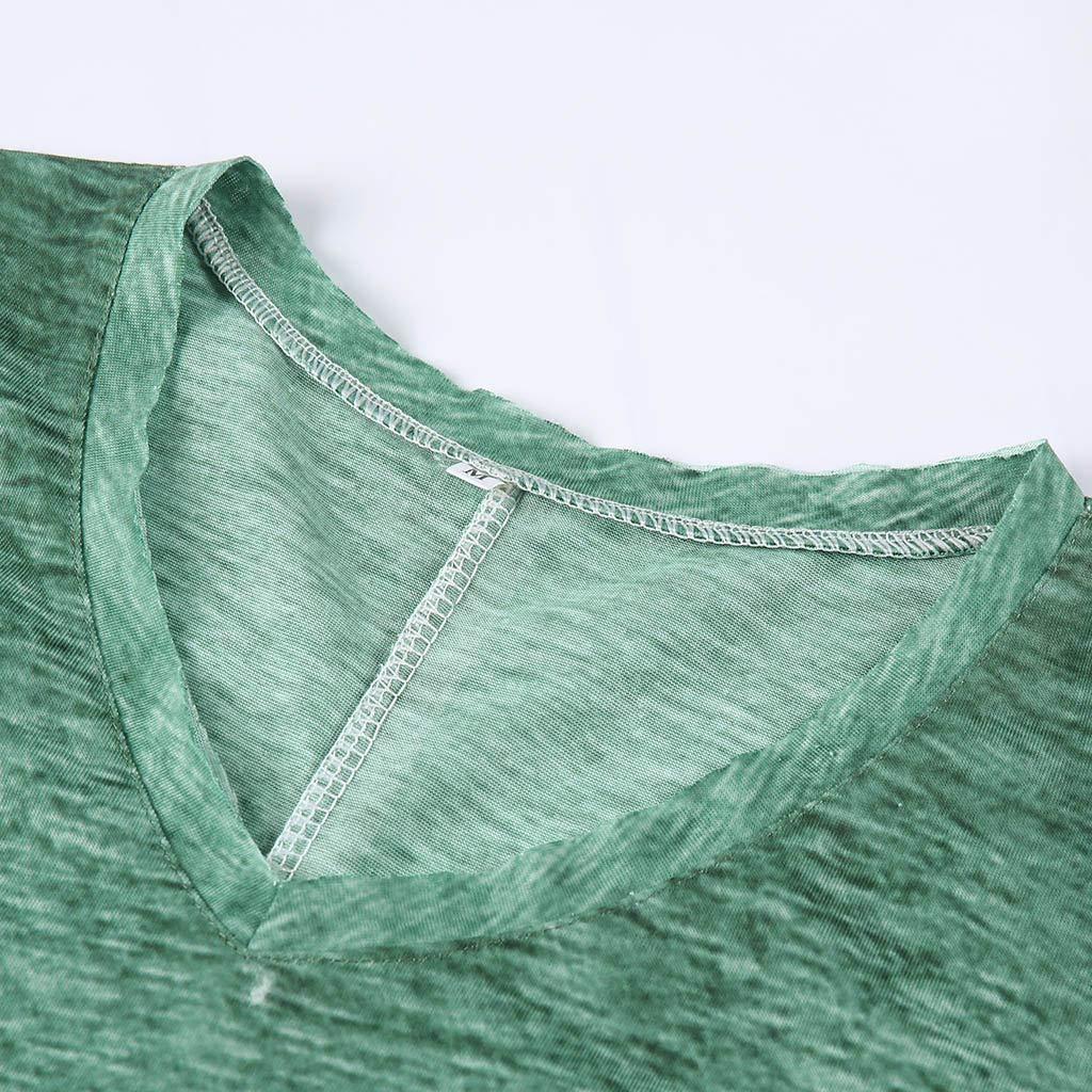 TOTOD Mens Casual Breathable V-Neck Short Sleeve Vintage Gradient Shirt Brief Basic Top