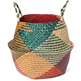 Natural Seagrass Basket - GOODCHANCESG Belly Basket Handmade Planter Seagrass Seagrass Basket With Handle Laundry Toys Basket Red&Green Style#1 27CMx24CM