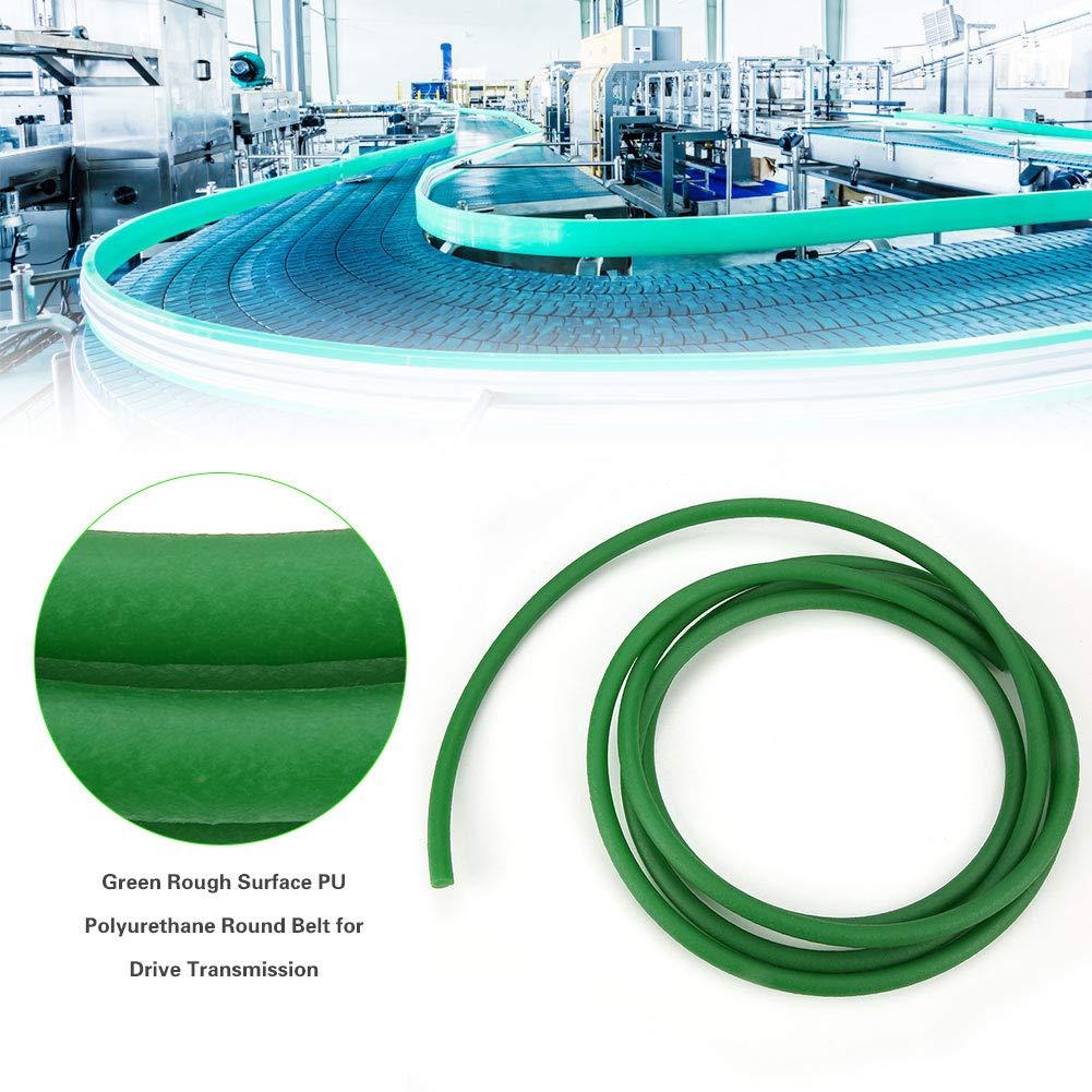 10mm*3m Correa redonda de poliuretano de poliuretano de superficie rugosa verde Correa de transmisi/ón de transmisi/ón de PU.Correa redonda de uretano de alto rendimiento