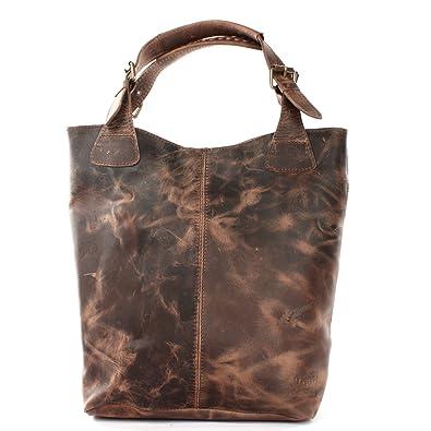 LECONI Sac à main en cuir véritable Vintage Look Ladies Handbag pour femme, bureau ou sac à provisions Sac en cuir pour femme 34x35x10cm boue LE0033-cire
