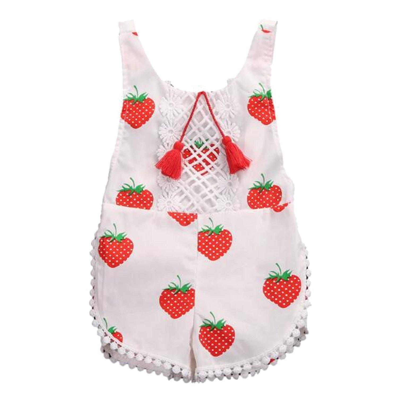 Vococal - Estate Appena Nata Ragazze Fragola Pattern Pagliaccetti Costume, Baby vestiti Abbigliamento Tutine per 0-3 mesi Bambino Dimensioni 70