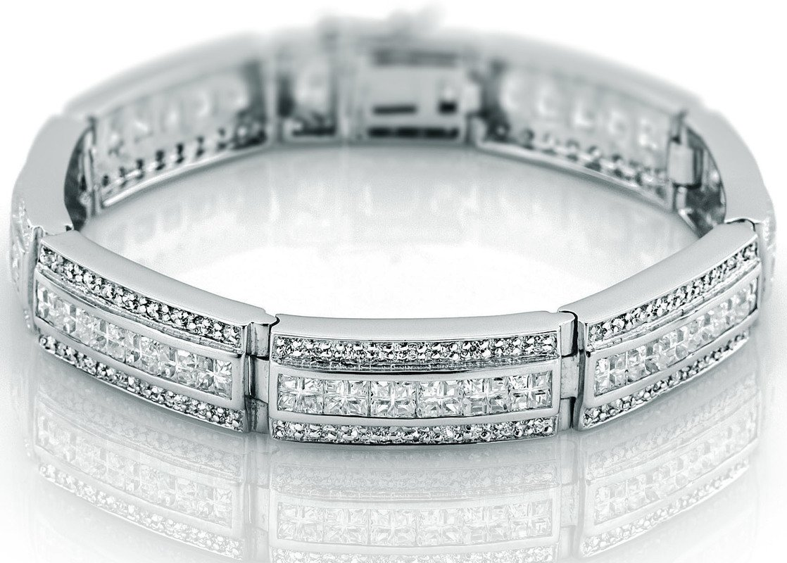 Men's Sterling Silver .925 Bracelet with 207 Channel set Fancy Princess and Elegant Round shaped Cubic Zirconia (CZ) Stones, Box Lock, Platinum Plated. Sizes available 8'' 9'' by Sterling Manufacturers (Image #1)