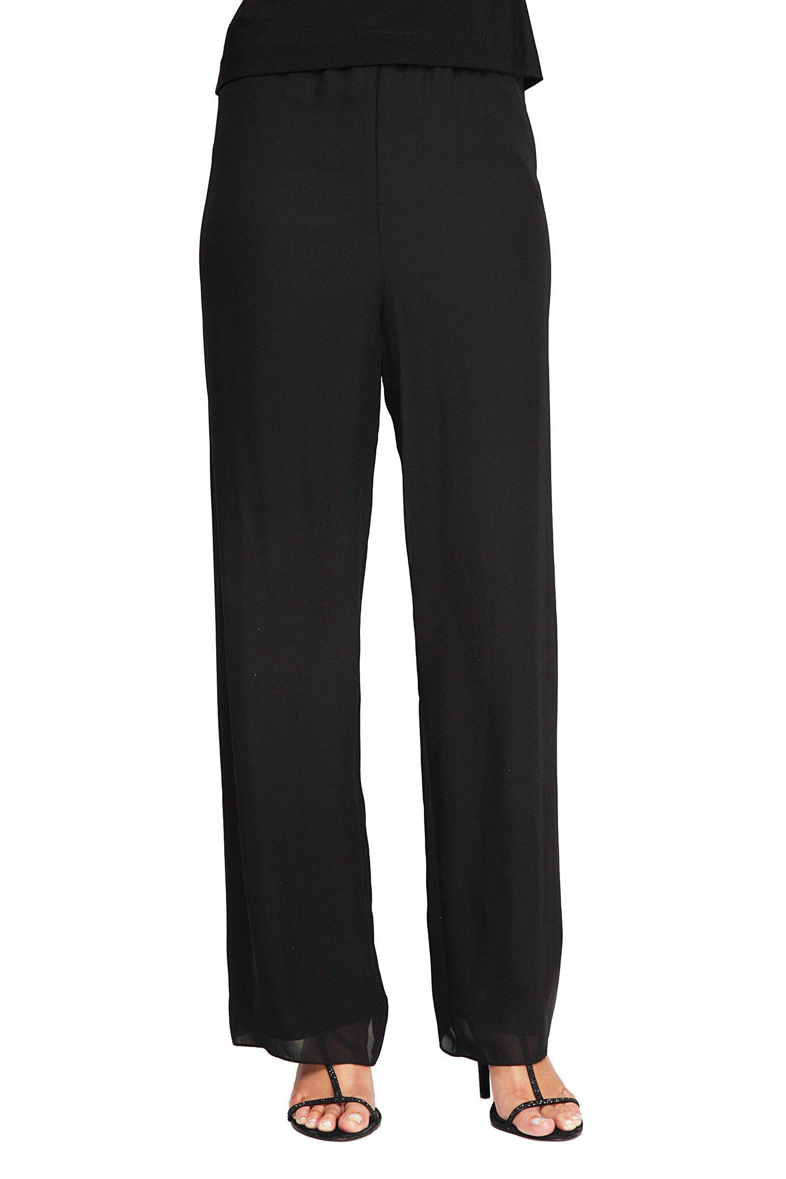 Alex Evenings Women's Plus-Size Chiffon Dress Pant, Black, 3X
