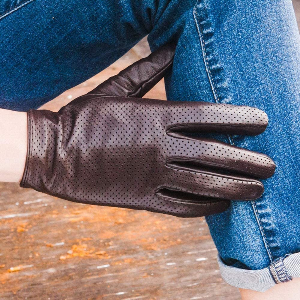 Baeoy Mens Thin Goatskin Sun Protection Gloves Driving Breathable Anti-Skid Anti-UV Gloves Outdoor Riding Casual Hollow Leather Gloves Fashionable Mens Full Finger Sheepskin Gloves