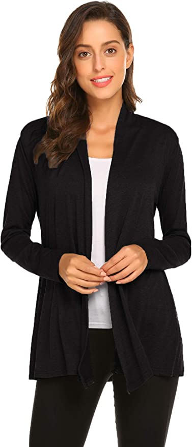 nurrat Women Casual Loose Solid Cardigan Long Sleeve Open Front Knitted Outwear Cardigans
