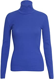 8622a052605d14 Womens Polo Turtle High Roll Neck Plain Ribbed Long Sleeve Ladies Stretch T-Shirt  Top