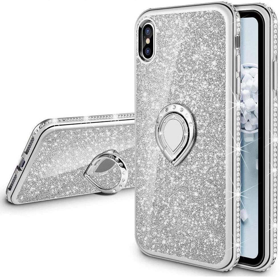 VEGO Case Compatible with iPhone Xs Max, Glitter Case for Girls Women Fancy Cute Fashion Sparkling Bling Rhinestone with Kickstand Ring Holder for iPhone Xs Max(Silver)