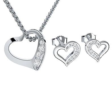 91aff1d6af6d Schmuckset Herzkette Silber und Herz Ohrringe Silber 925 von AMOONIC mit  Zirkonia  inkl. LUXUSETUI  Kette und Ohrringe Halskette Damen Schmuck  Ohrstecker ...