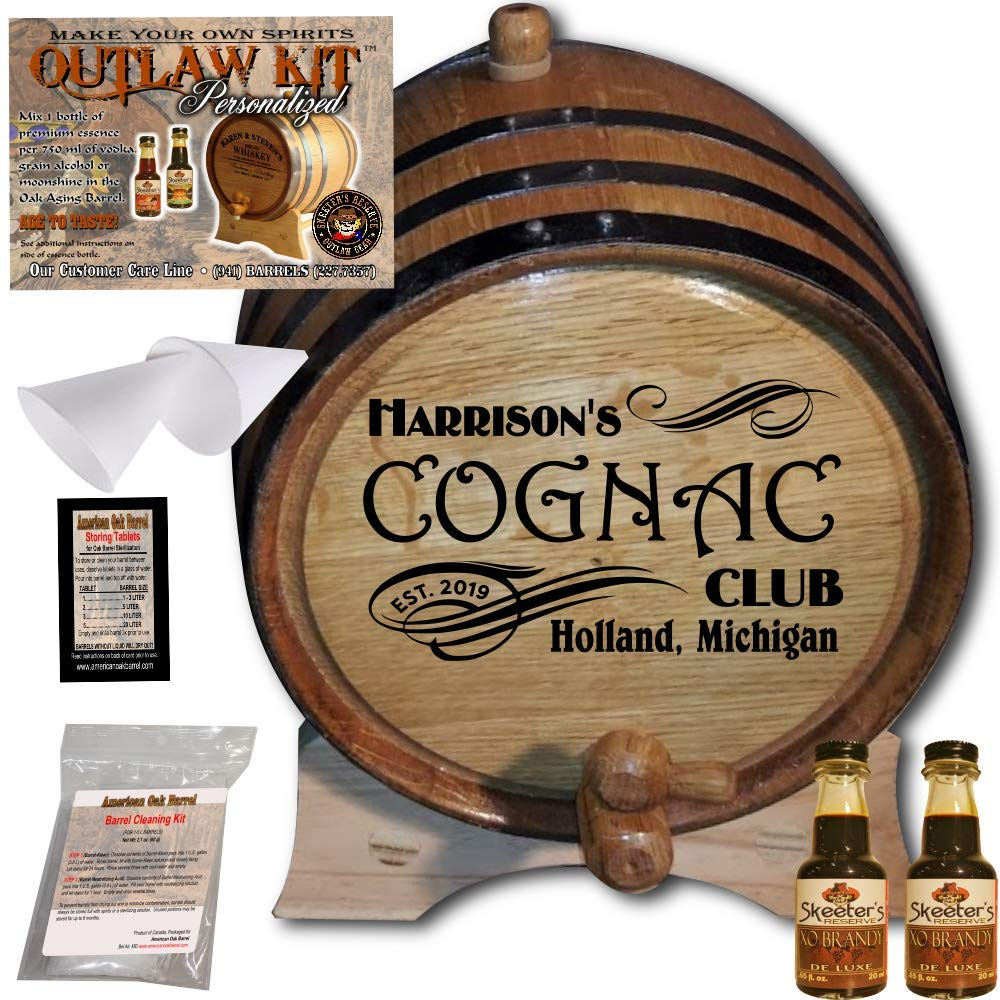 Personalized Cognac Making Kit (207) - Create Your Own XO Brandy - The Outlaw Kit from Skeeter's Reserve Outlaw Gear - MADE BY American Oak Barrel - (Oak, Black Hoops, 2 Liter)