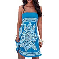 Verano sin tirantes de hombro mujer bohemia falda casual estampado floral colorido mini vestidos de playa,EMMA